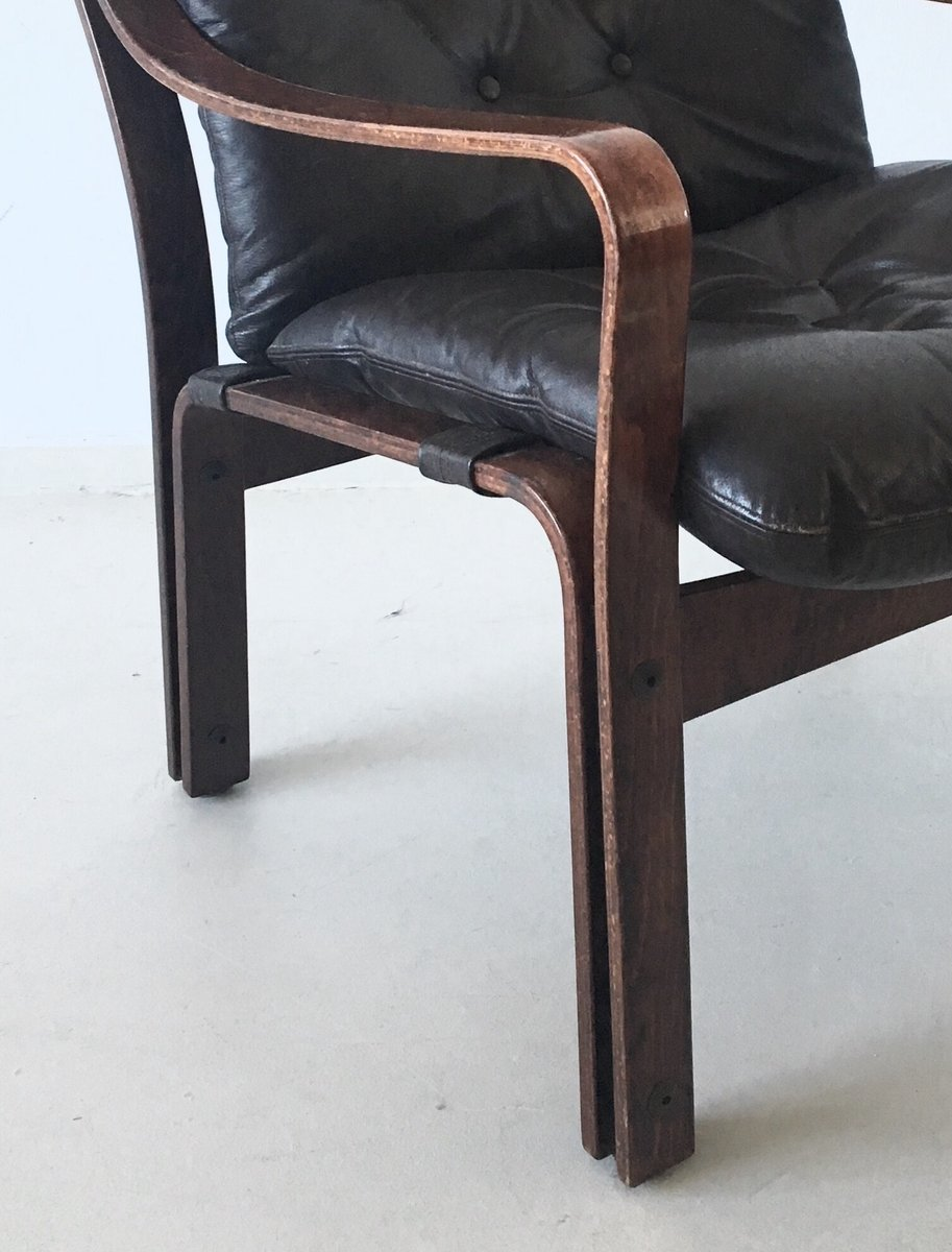 Mid Century Leather Lounge Chair 1960s For Sale At Pamono