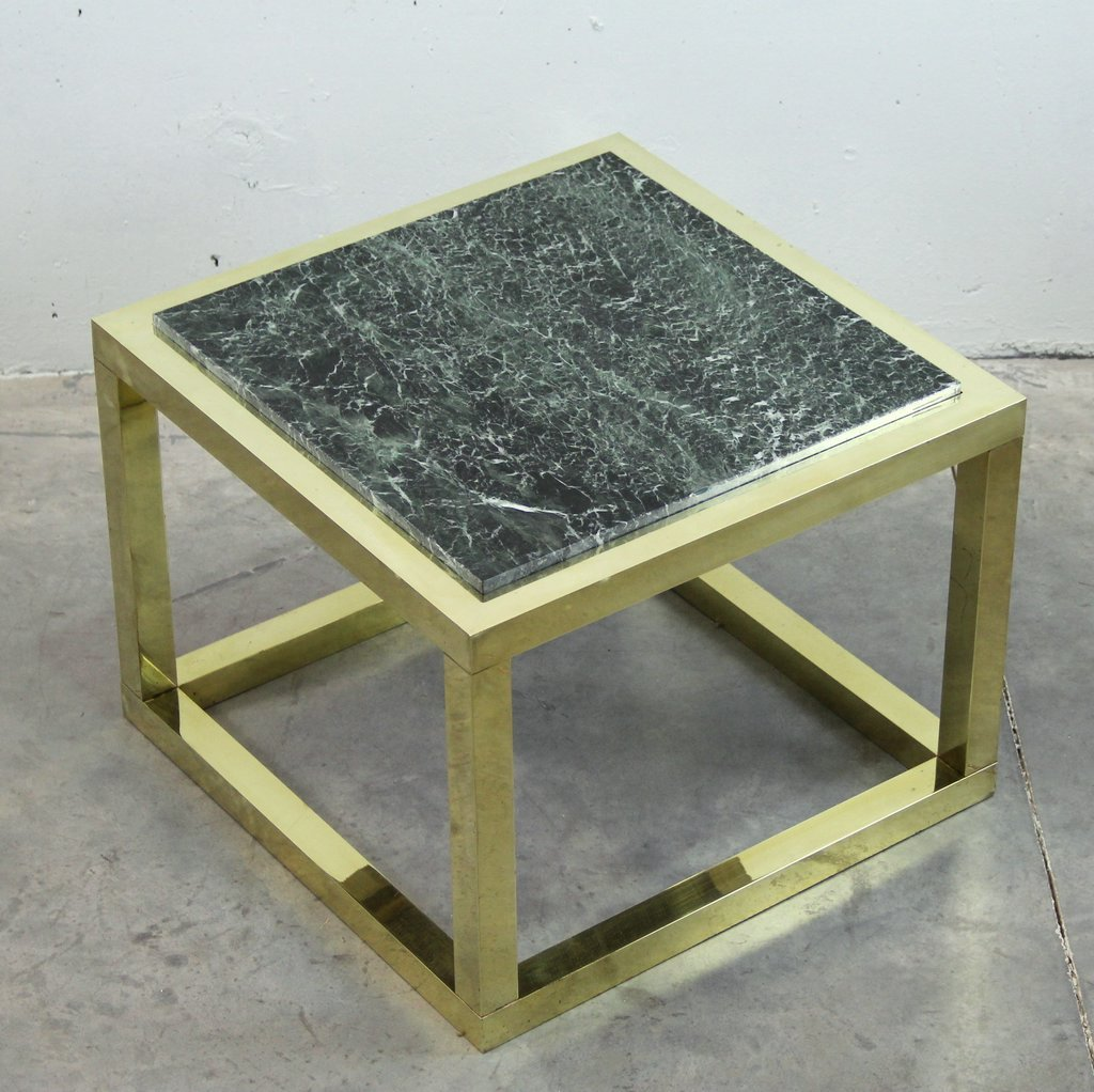 Marble Coffee Table Hk: Vintage Spanish Brass And Green Veined Marble Coffee Table