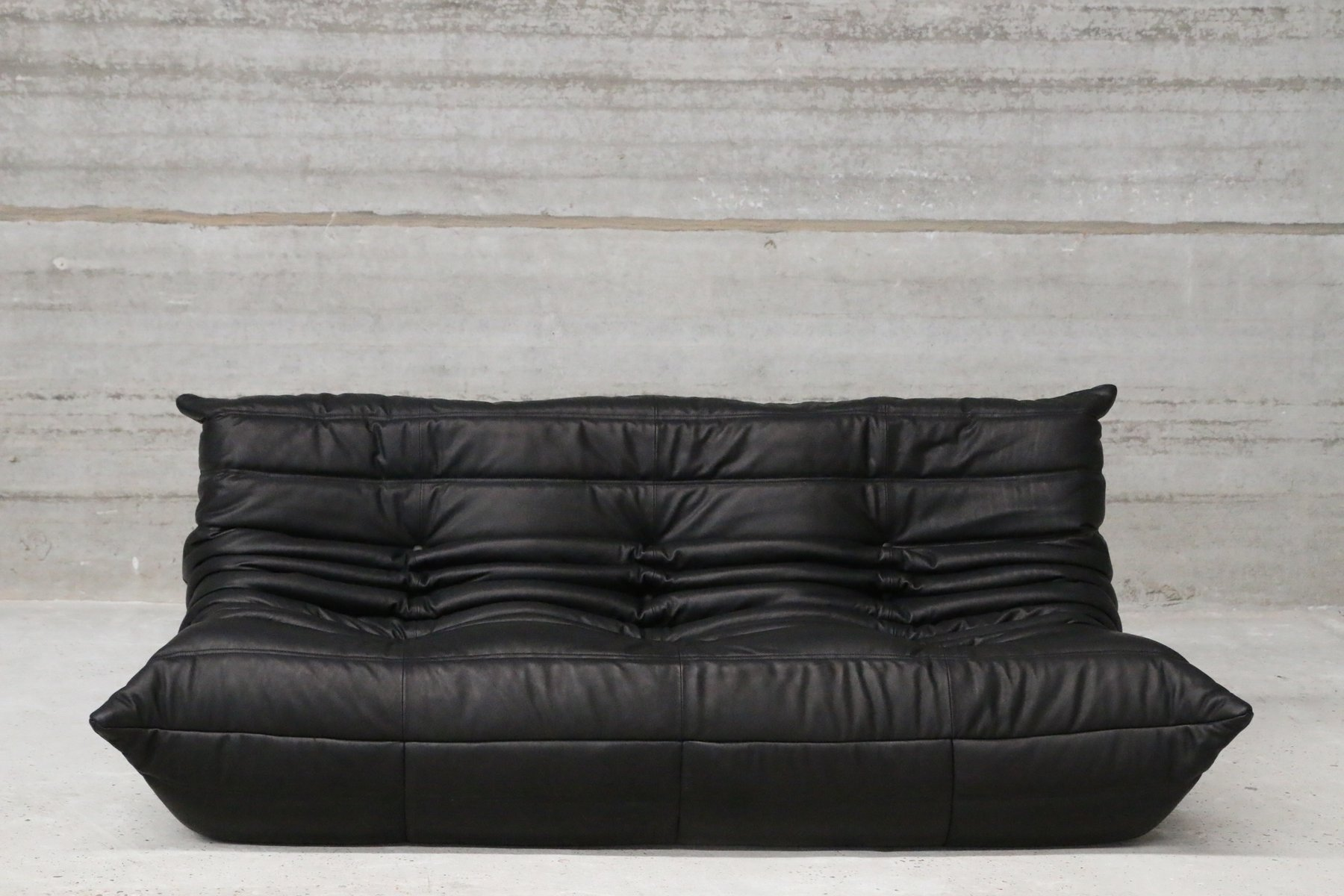 Vintage Black Leather Togo Lounge Set By Michel Ducaroy For Ligne Roset