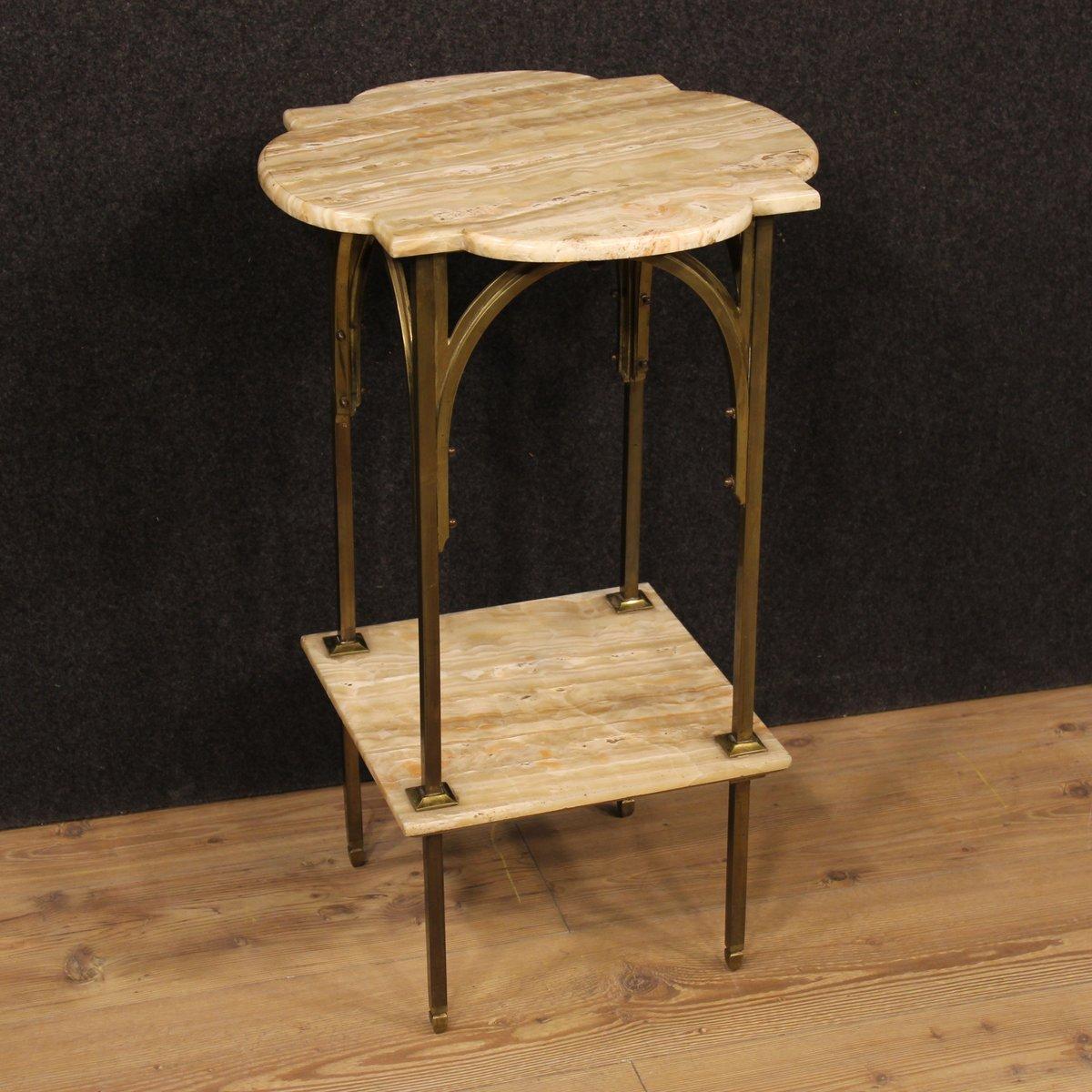 franz sischer niedriger beistelltisch aus onyx bronziertem metall bei pamono kaufen. Black Bedroom Furniture Sets. Home Design Ideas