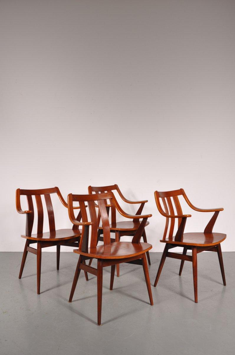 niederl ndische geschwungene esszimmerst hle aus teakholz 4er set bei pamono kaufen. Black Bedroom Furniture Sets. Home Design Ideas