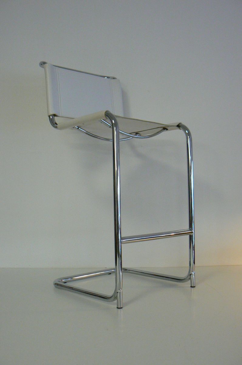 White Leather And Chrome Bar Stool For Sale At Pamono