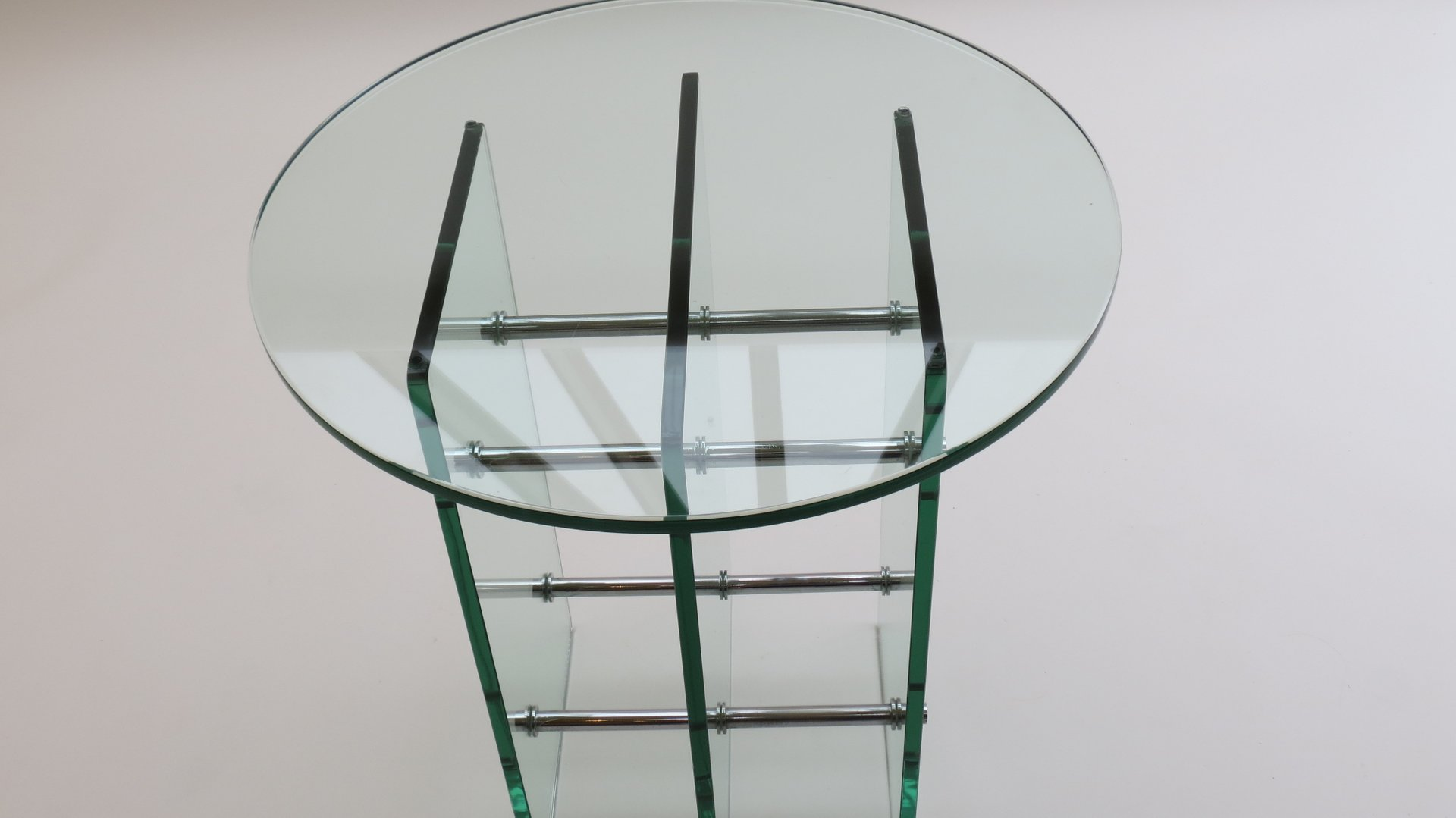 beistelltisch aus glas nickel 1970er bei pamono kaufen. Black Bedroom Furniture Sets. Home Design Ideas