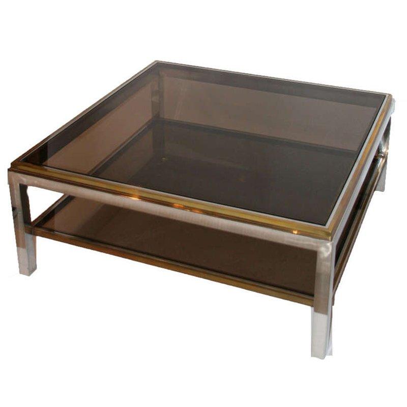 couchtisch aus chrom und vergoldetem messing 1970er bei. Black Bedroom Furniture Sets. Home Design Ideas