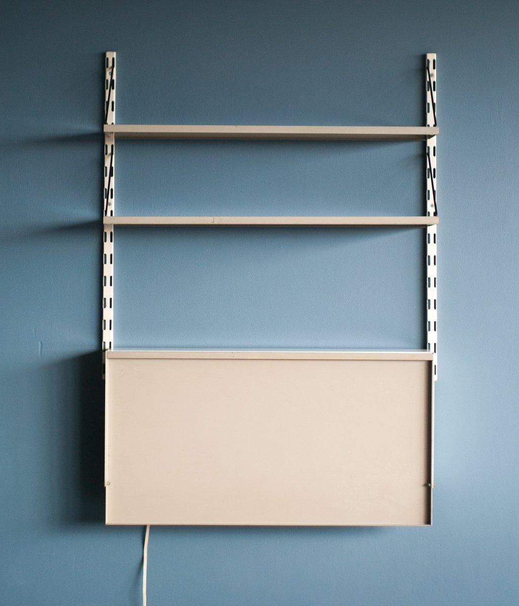 wandregal mit beleuchtetem sekret r von tjerk reijenga f r pilastro 1958 bei pamono kaufen. Black Bedroom Furniture Sets. Home Design Ideas