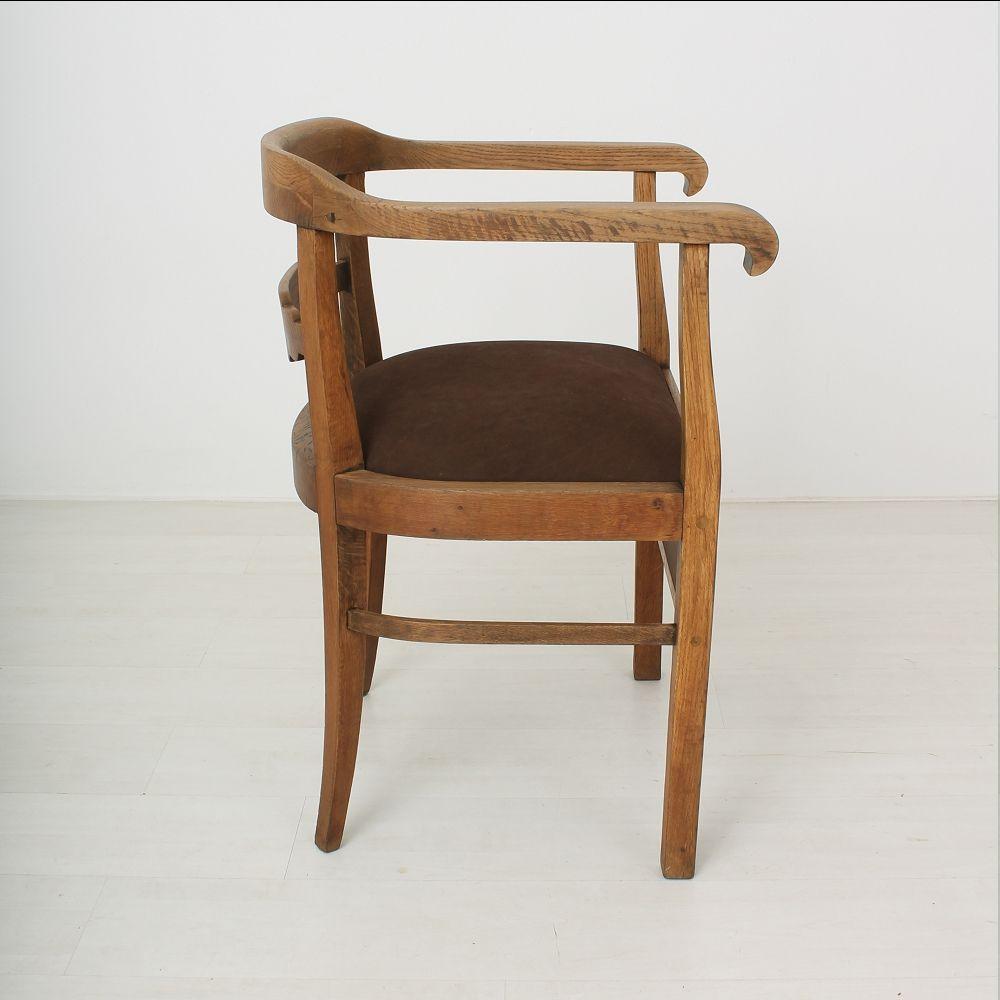Vintage Art Deco Oak Amp Leather Armchair 1920s For Sale At