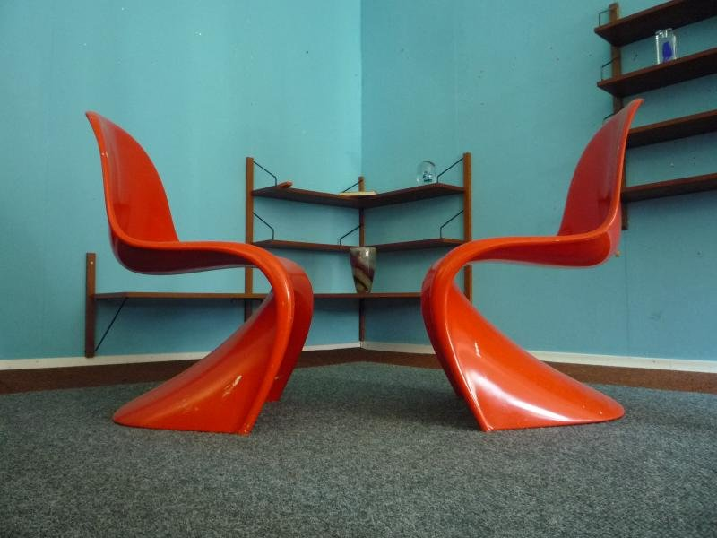 orangefarbene st hle von verner panton f r herman miller 1968 2er set bei pamono kaufen. Black Bedroom Furniture Sets. Home Design Ideas