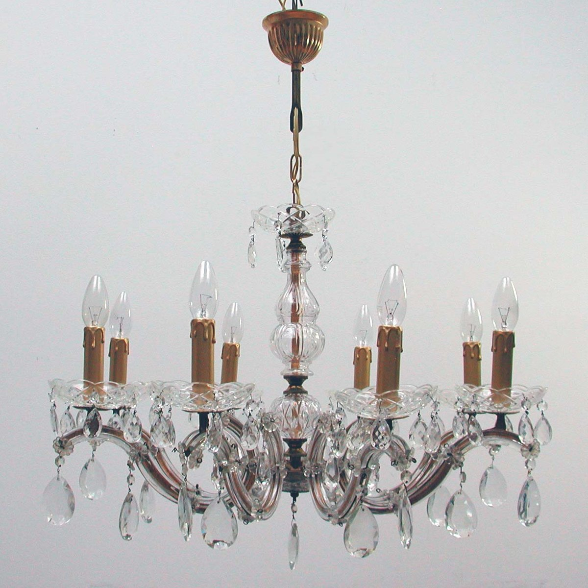 Italian brass and crystal 8 light chandelier 1950s for sale at pamono mozeypictures Choice Image