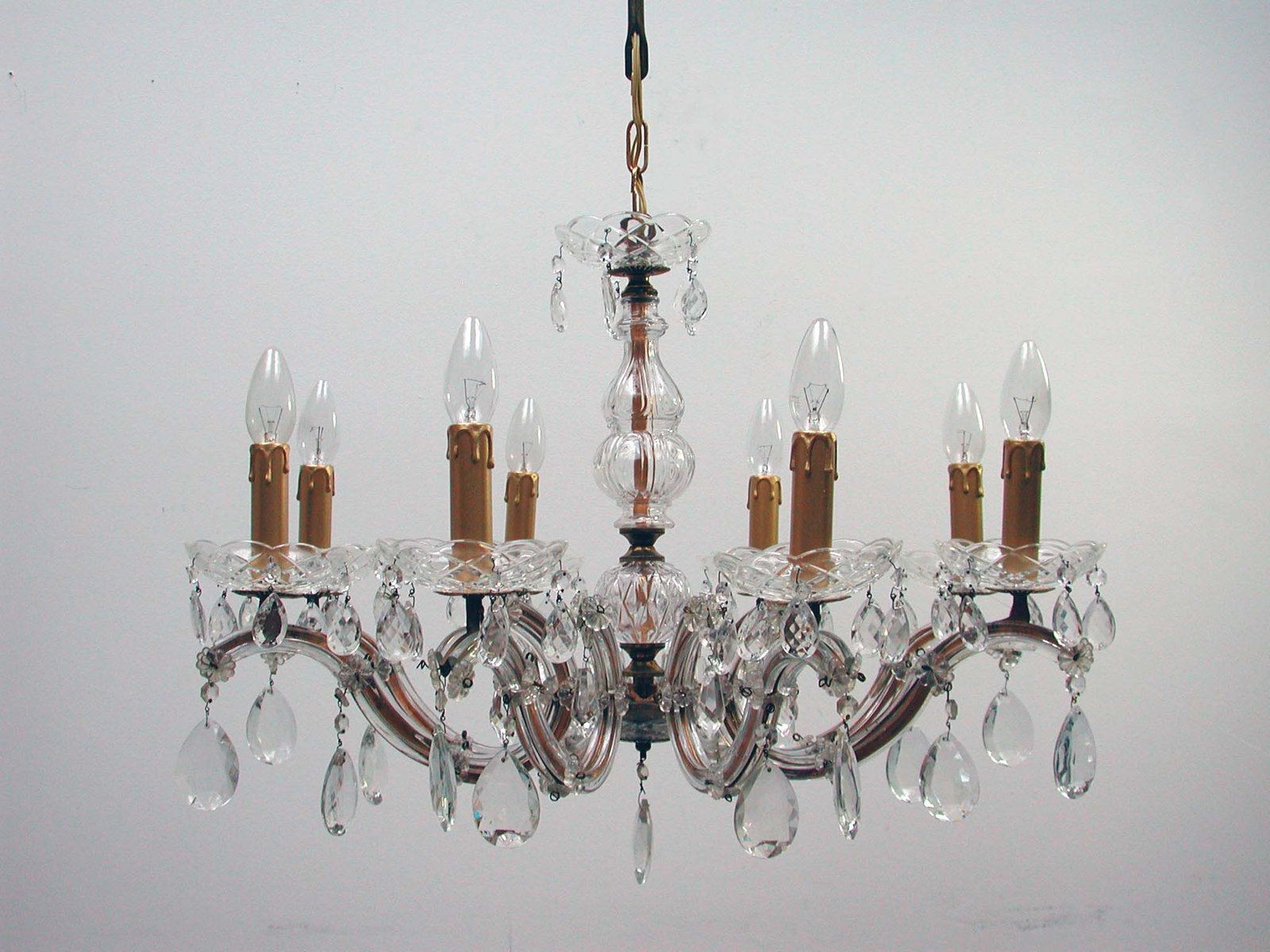 Italian Brass And Crystal 8 Light Chandelier 1950s For