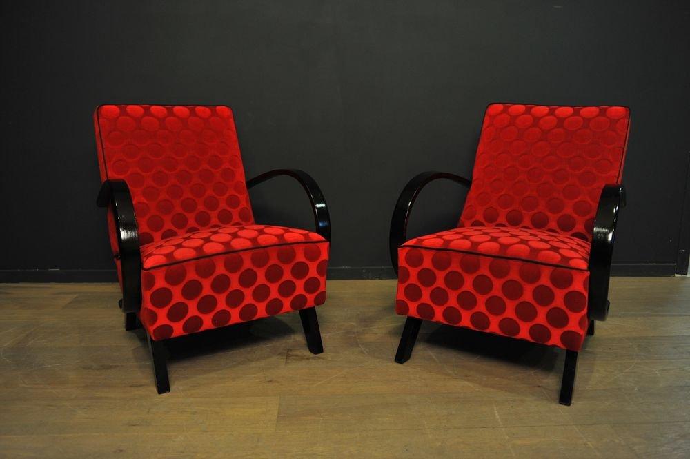 rote sessel von jindrich halabala f r thonet 1940er 2er. Black Bedroom Furniture Sets. Home Design Ideas