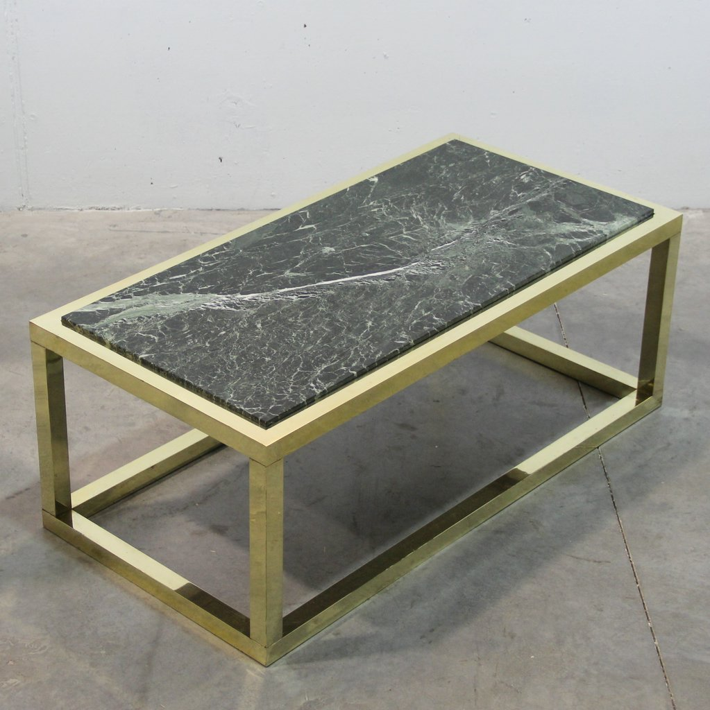 Marble Coffee Table For Sale Singapore: Spanish Vintage Marble & Brass Coffee Table, 1970s For