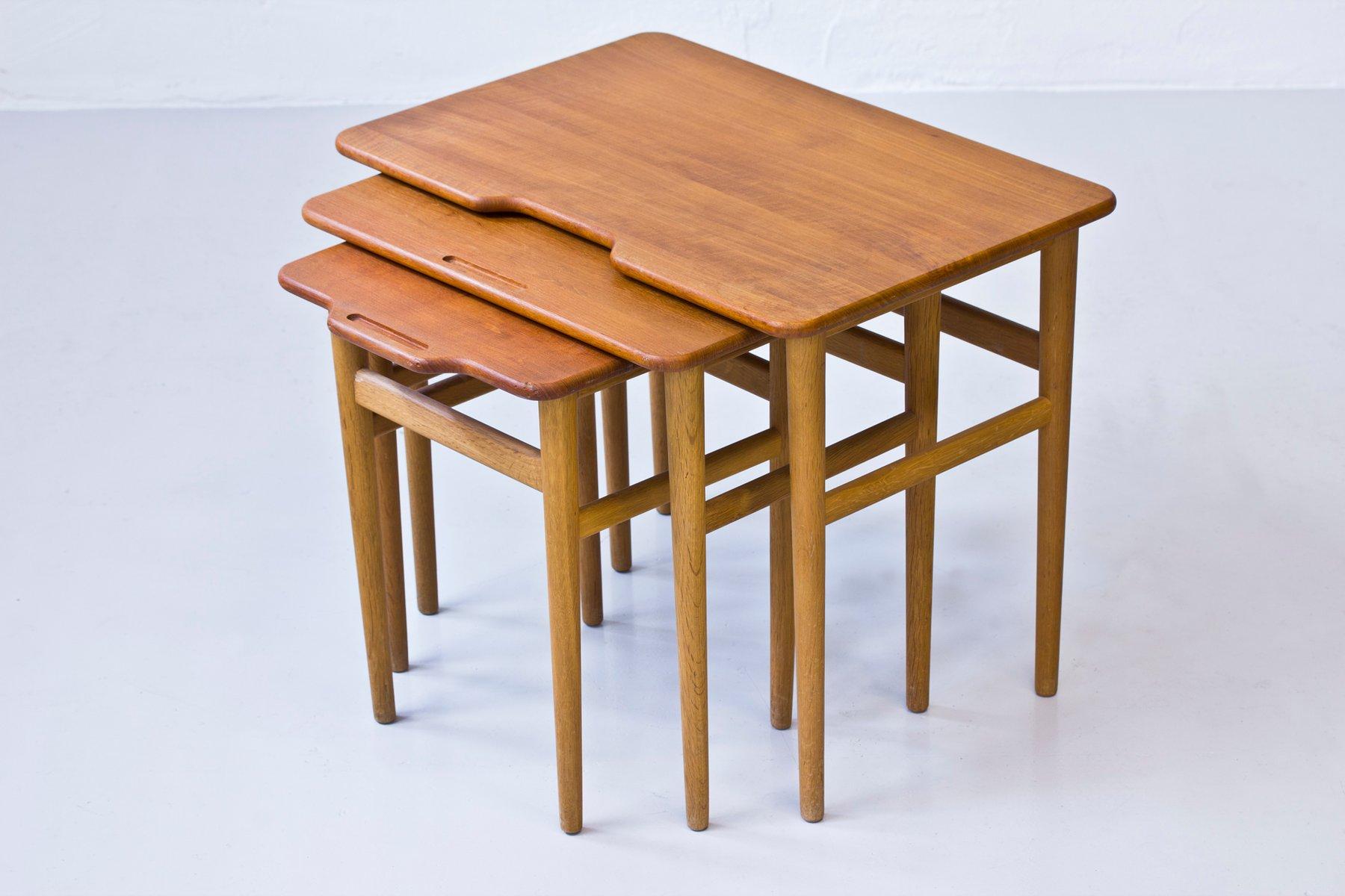 Nice Vintage Danish Teak And Oak Nesting Tables By Kurt Østervig For Jason  Møbler For Sale At Pamono