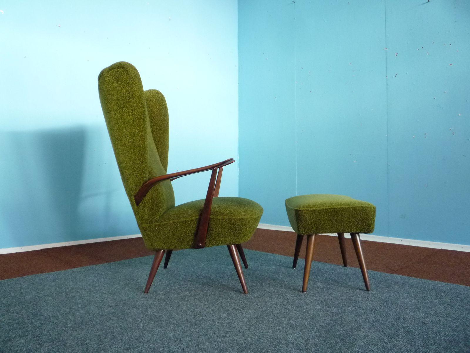 sessel mit hoher r ckenlehne mit hocker 1950er bei pamono kaufen. Black Bedroom Furniture Sets. Home Design Ideas