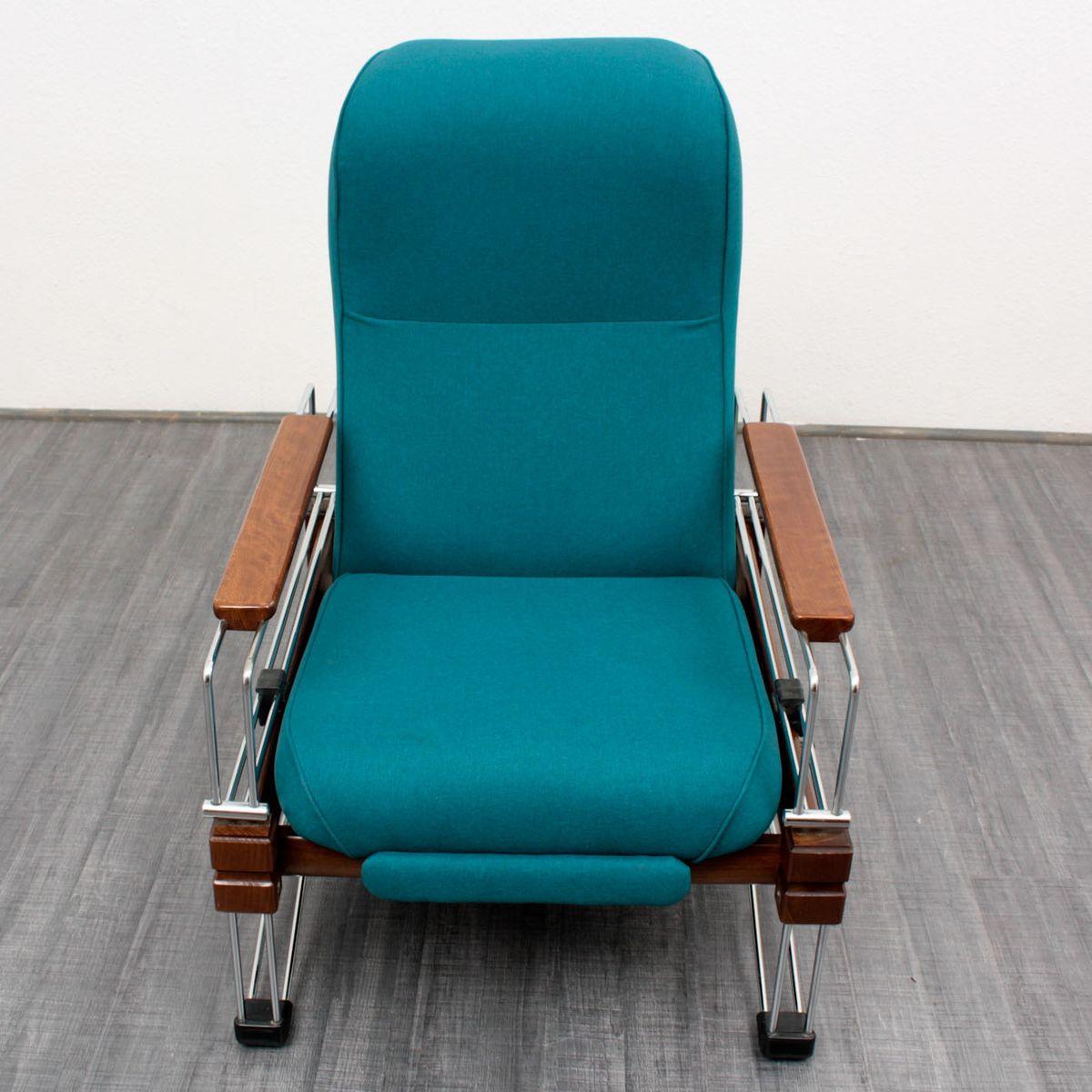 Vintage Lounge Sessel aus Holz mit Verchromten Gestell bei Pamono kaufen