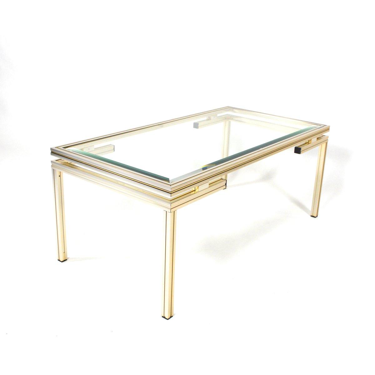 table basse or et argent par pierre vandel france 1970s. Black Bedroom Furniture Sets. Home Design Ideas