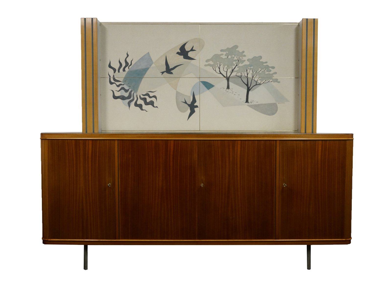 Teak Cabinet with Vinyl Artwork by Akkermans for sale at Pamono
