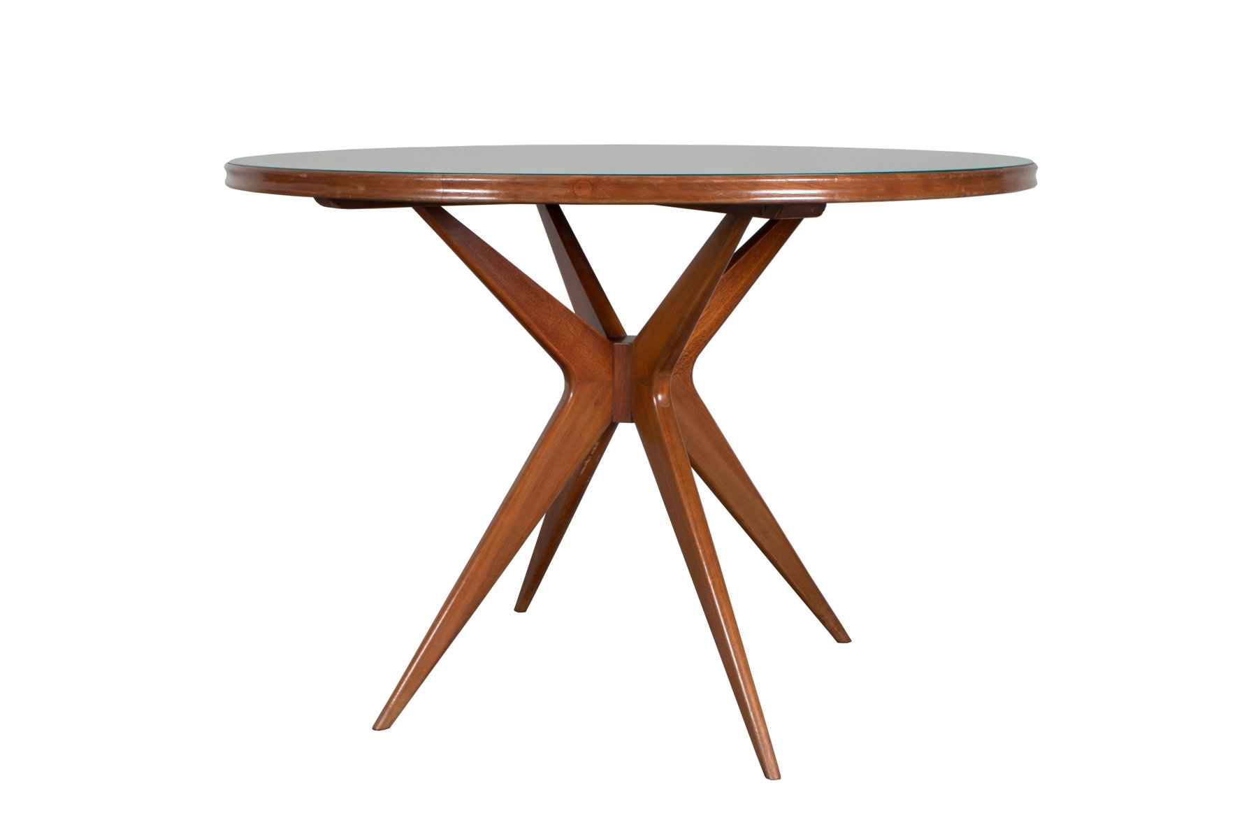 italienischer runder tisch aus gr nglas 1950er bei pamono. Black Bedroom Furniture Sets. Home Design Ideas