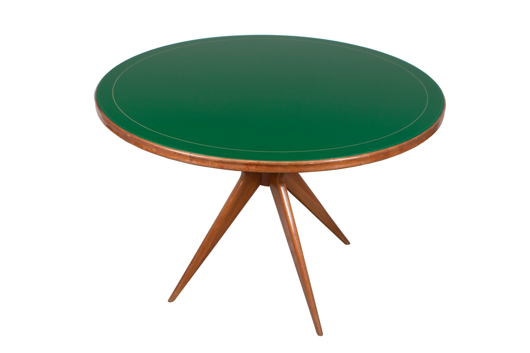 italienischer runder tisch aus gr nglas 1950er bei pamono kaufen. Black Bedroom Furniture Sets. Home Design Ideas
