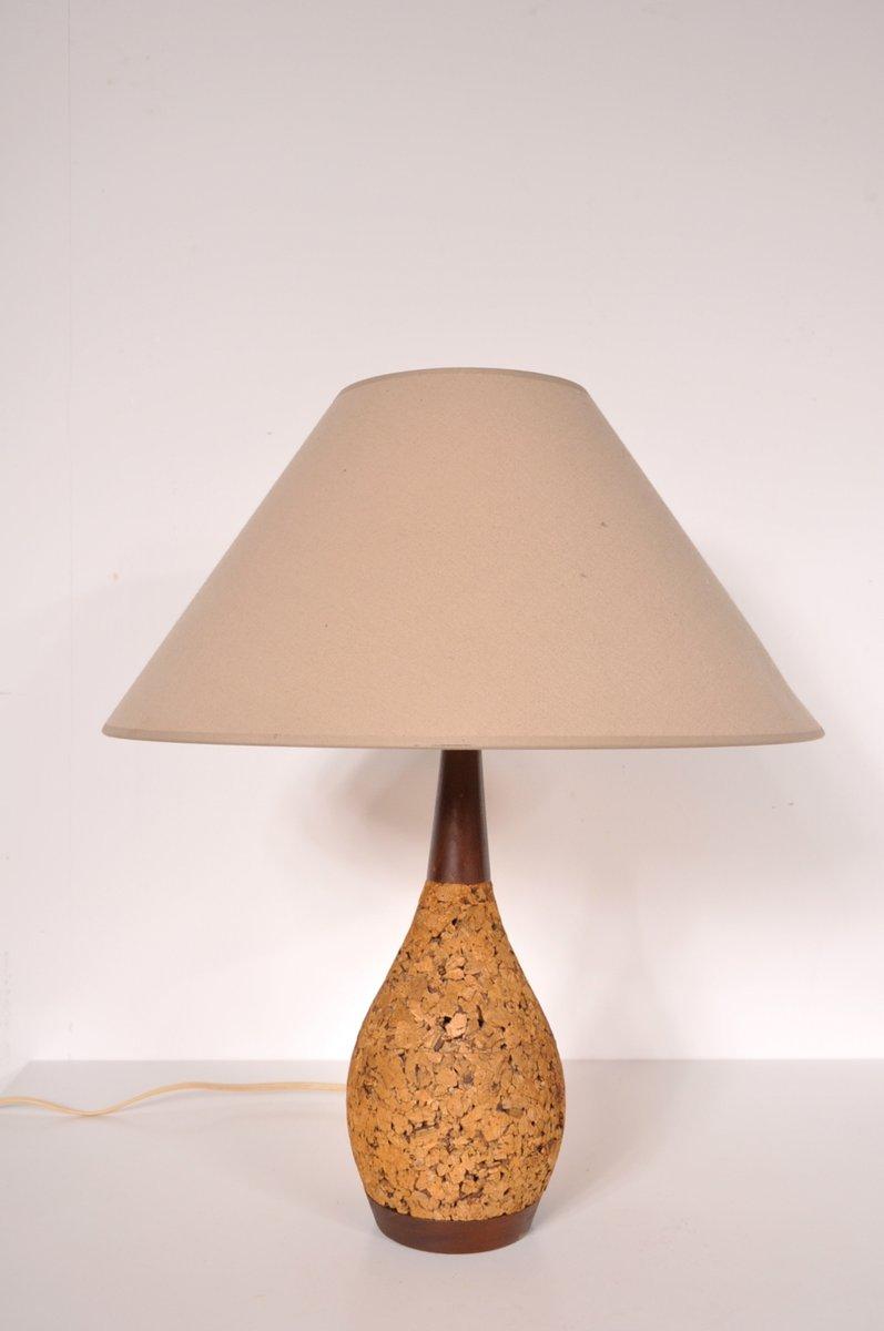 kork und stoff tischlampe 1970er bei pamono kaufen. Black Bedroom Furniture Sets. Home Design Ideas