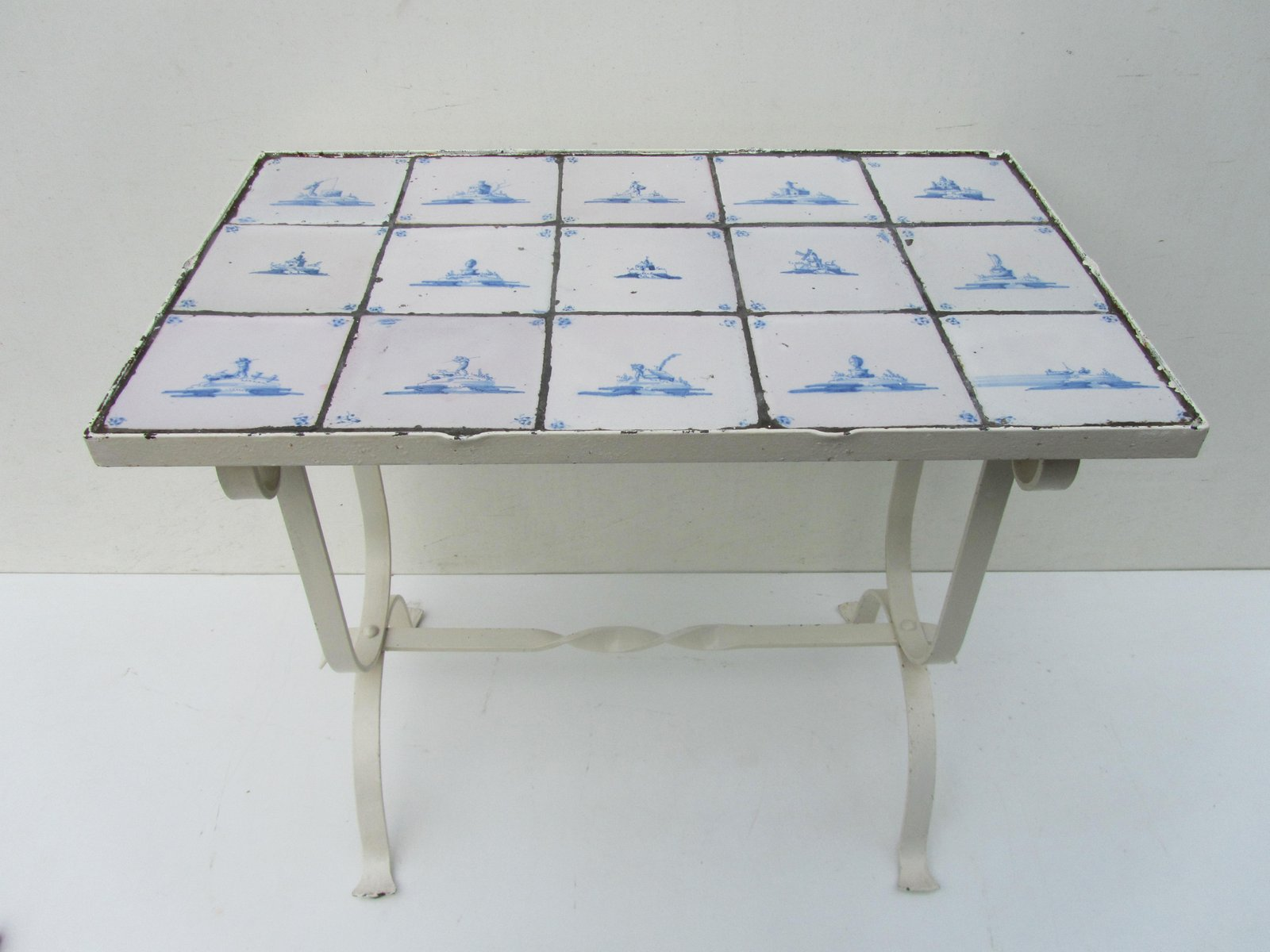 Vintage Side table with Antique Dutch Delft Tiles for sale at Pamono