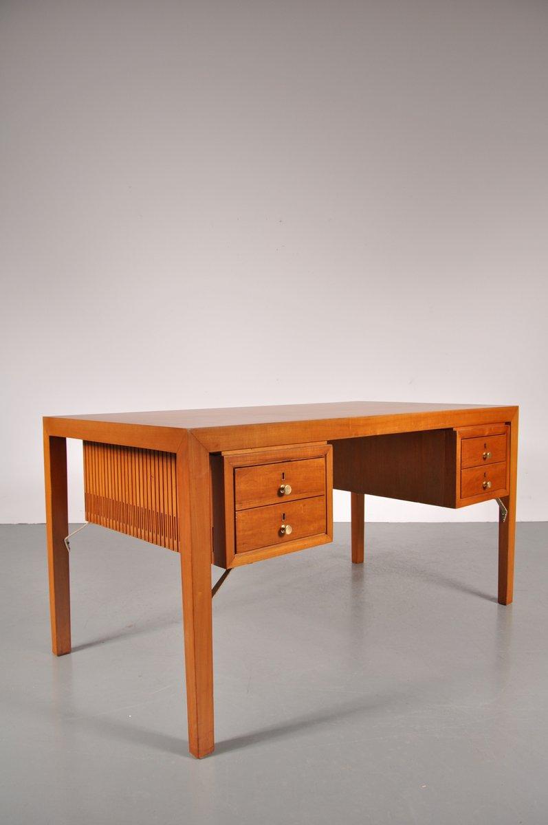 franz sischer schreibtisch mit vier schubladen aus metall holz 1950er bei pamono kaufen. Black Bedroom Furniture Sets. Home Design Ideas