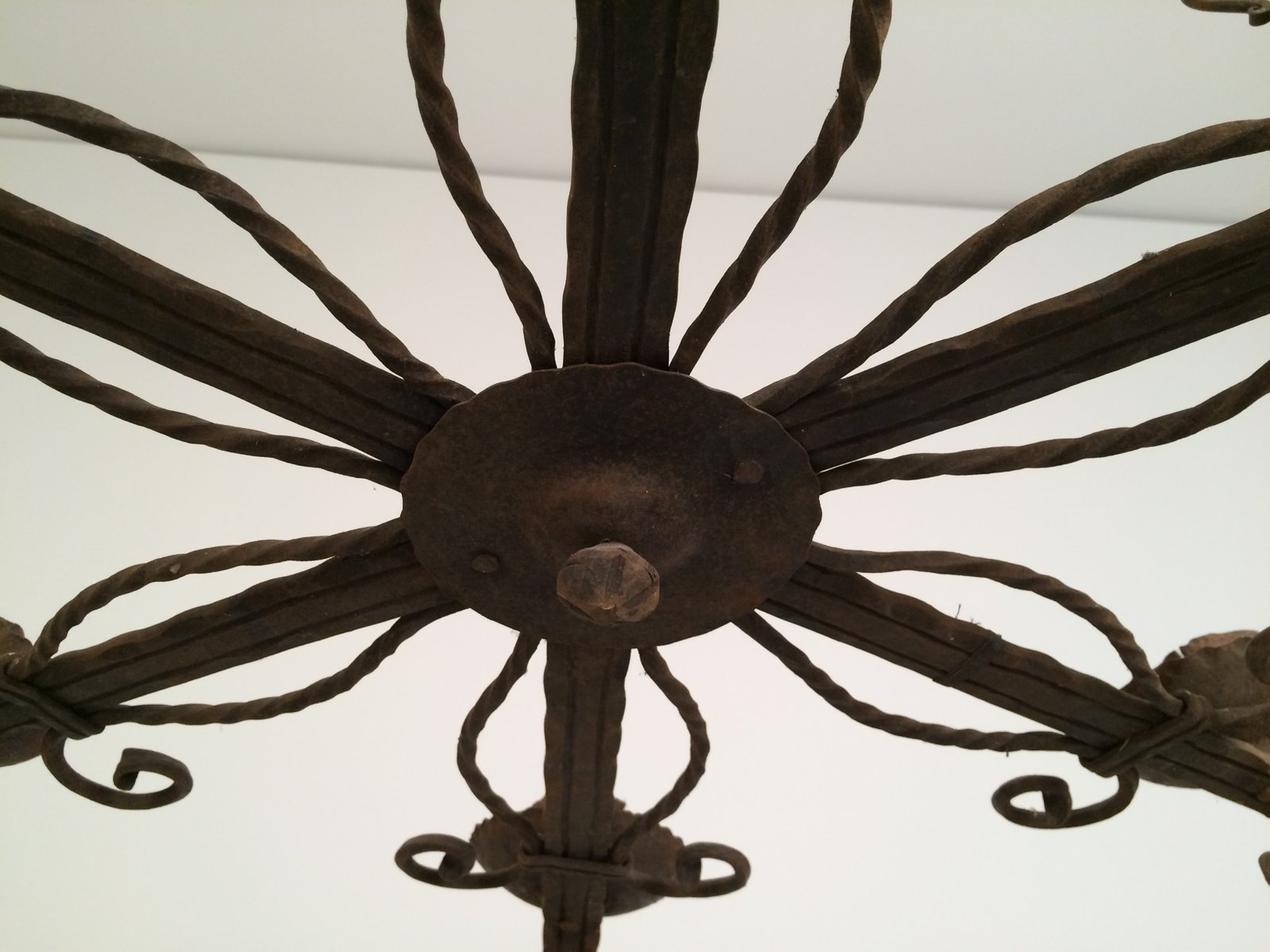 Five Candle Holder Wrought Iron Chandelier 1920s for sale at Pamono