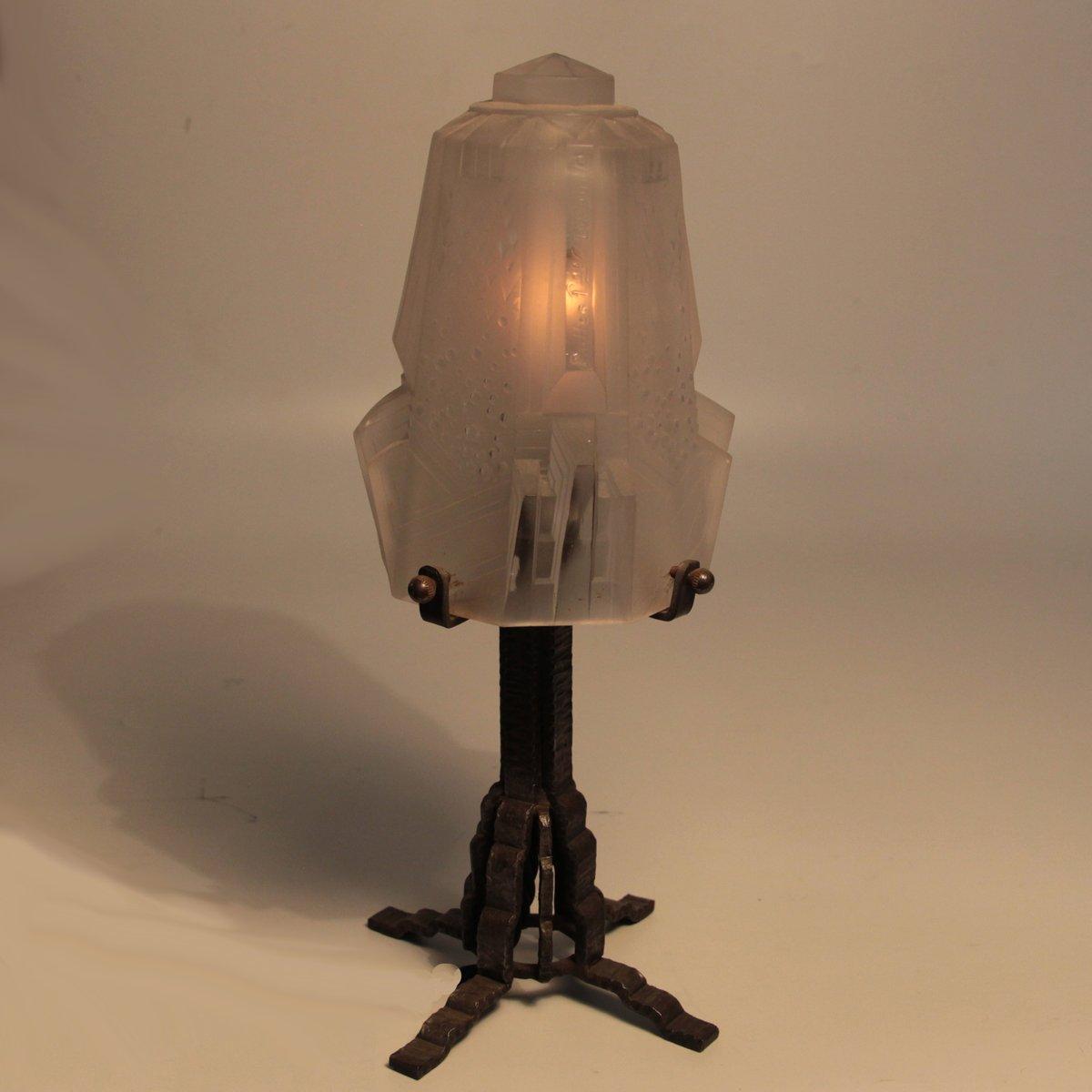 lampe de bureau vintage art d co de muller fr res lun ville france en vente sur pamono. Black Bedroom Furniture Sets. Home Design Ideas