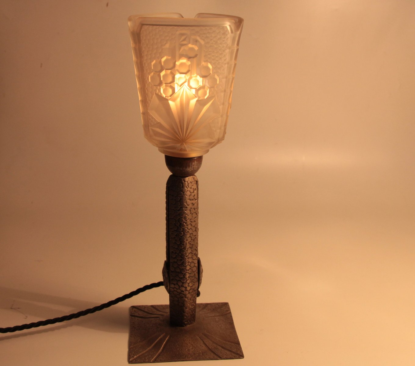 French Art Deco Wrought Iron Table Lamp