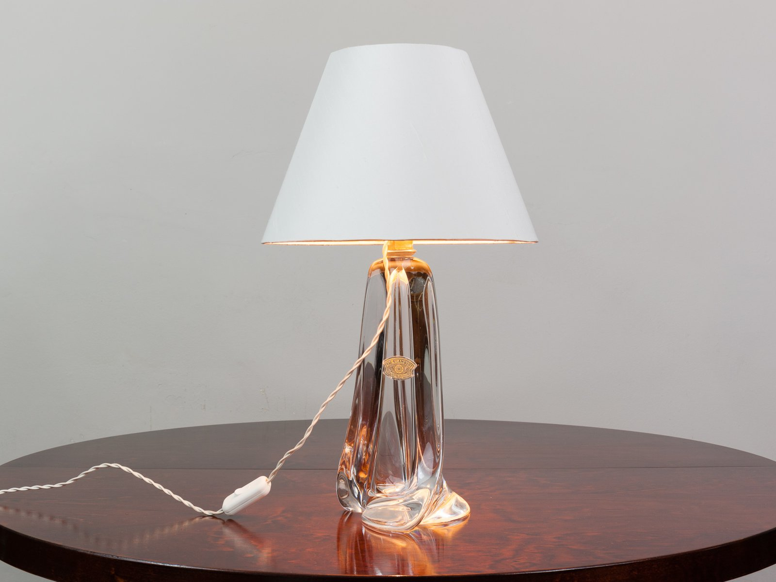 Large Clear Crystal Lamp Base From Val St Lambert, 1960s