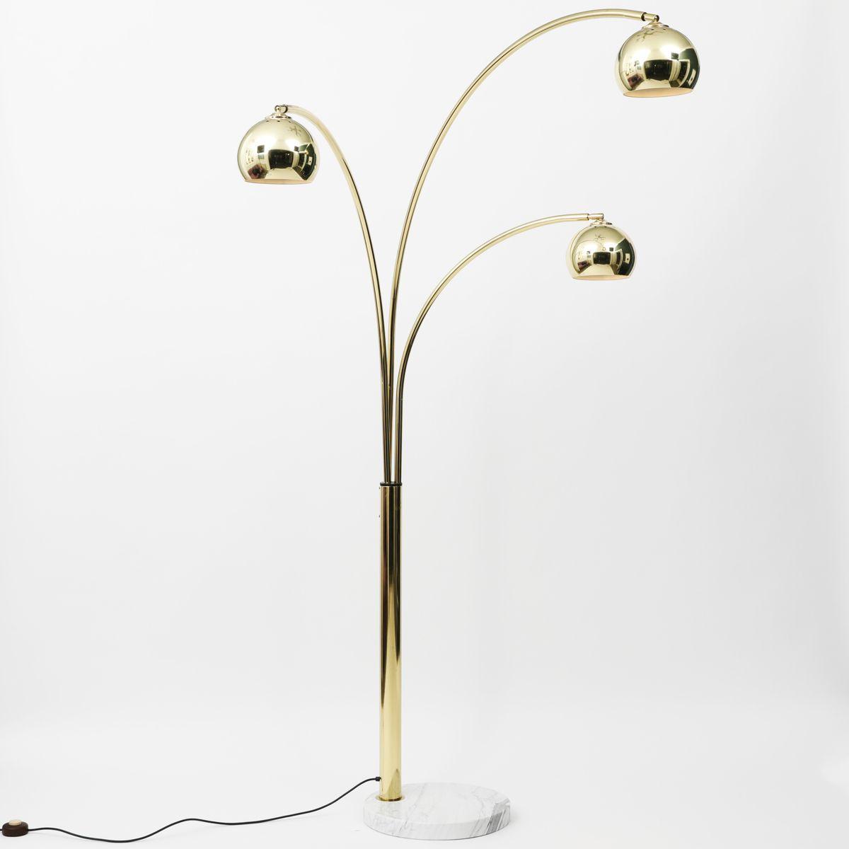 Brass Arc Lamp With Marble Base, Goffredo Reggiani, 1960u0027s