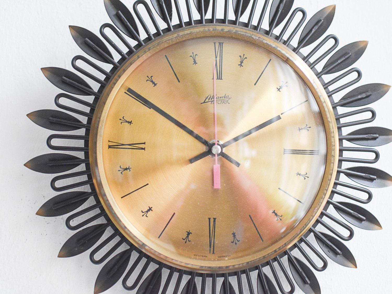 Mid Century Large Sunburst Wall Clock From Atlanta For