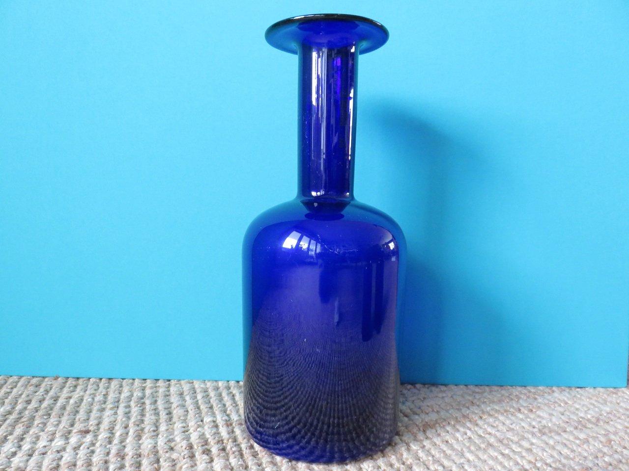 Blaue vasen von otto bauer f r kastrup holmegaard 3er set for Otto vasen