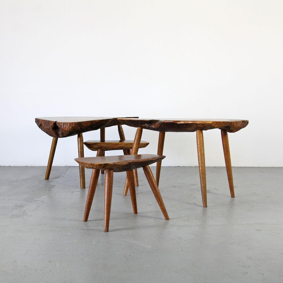 tables d 39 appoint en tronc d 39 arbre fait main 1960s set de 4 en vente sur pamono. Black Bedroom Furniture Sets. Home Design Ideas