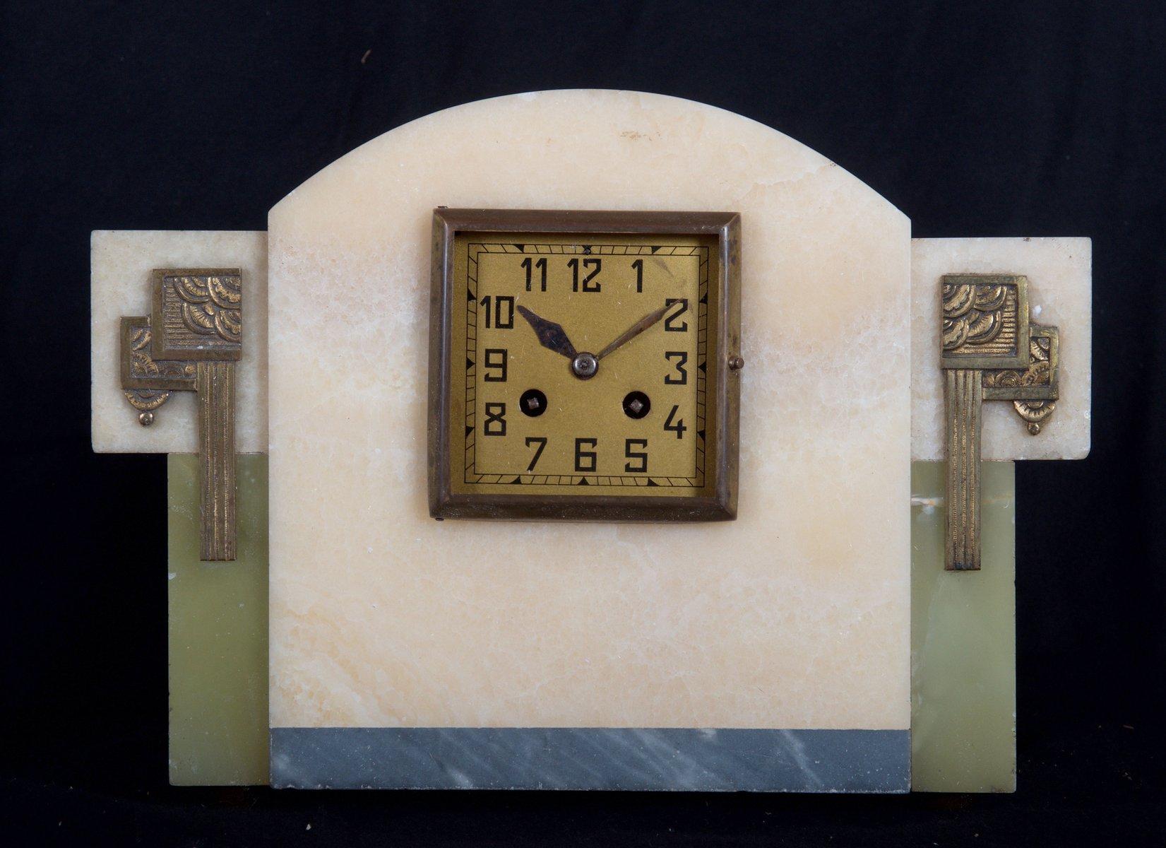 horloge murale art d co en marbre france 1930s en vente sur pamono. Black Bedroom Furniture Sets. Home Design Ideas