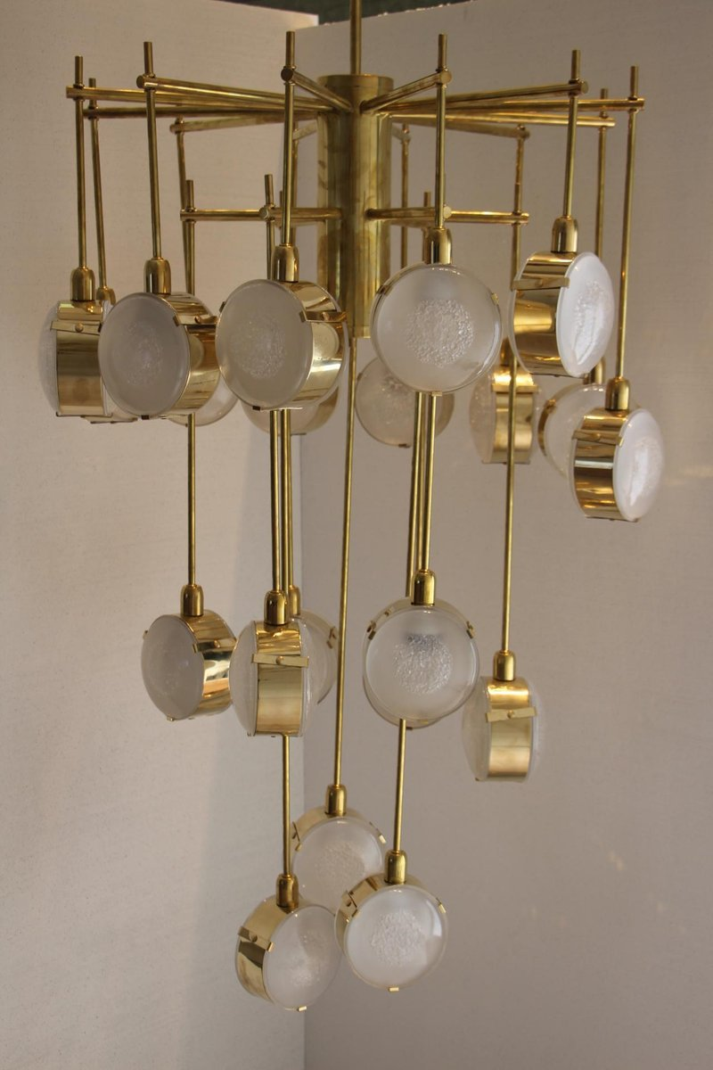 Italian modern mid century brass and glass chandelier for sale at italian modern mid century brass and glass chandelier mozeypictures Gallery