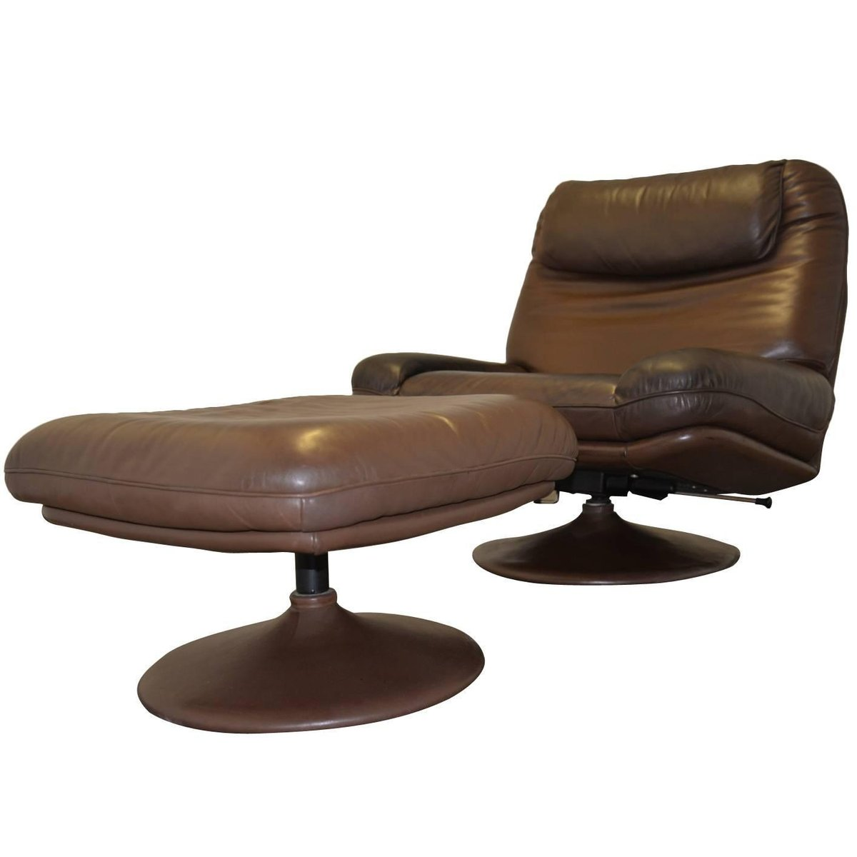 Vintage Swiss Lounge Armchair and Ottoman by De Sede 1970s for sale