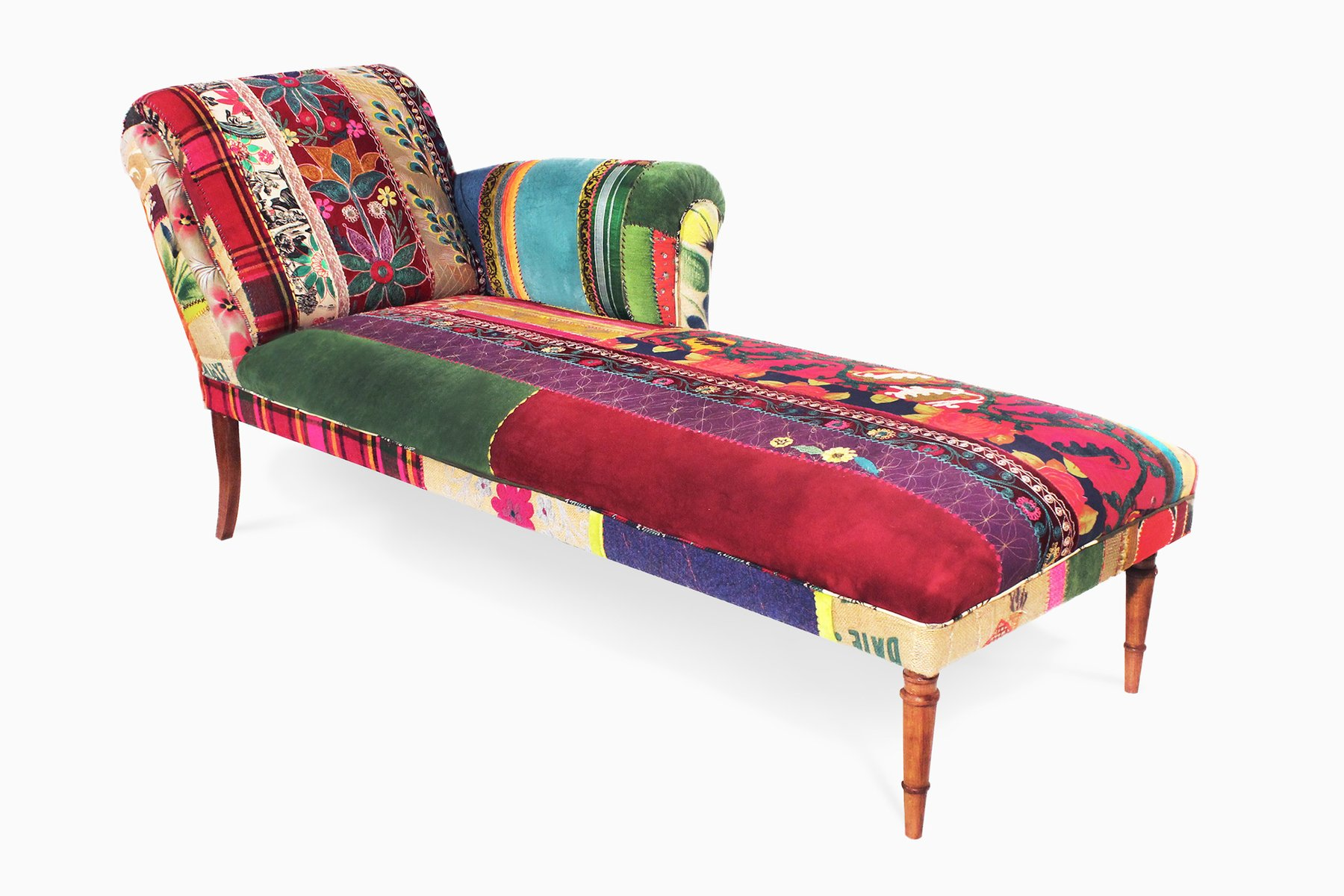 chaise patchwork excellent chair patchwork style bohemian fabric blue grey beige with chaise. Black Bedroom Furniture Sets. Home Design Ideas