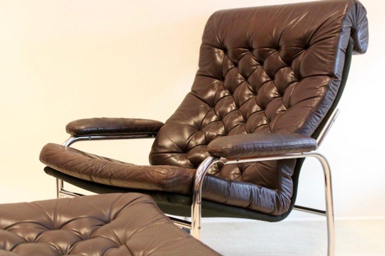 vintage bore leder sessel mit fu hocker von noboru. Black Bedroom Furniture Sets. Home Design Ideas
