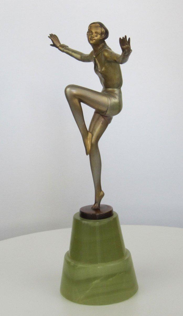 art deco bronze statue by josef lorenzl 1930s for sale at pamono. Black Bedroom Furniture Sets. Home Design Ideas
