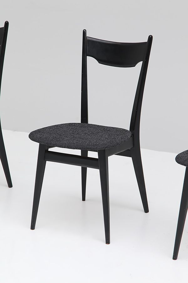 black ebonized wood dining chairs 1970s set of 4 for sale at pamono. Black Bedroom Furniture Sets. Home Design Ideas
