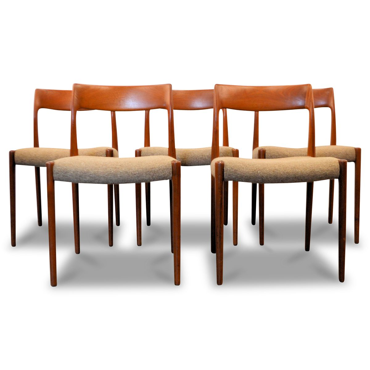 Nr. 77 Teak Dining Chairs By Niels O. Møller For J.L. Møller, 1960s, Set Of  5