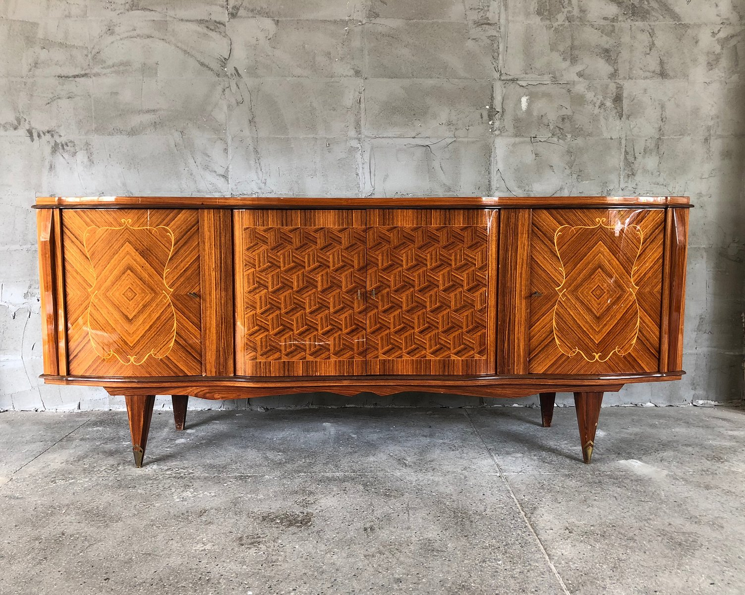 enfilade art d co en palissandre 1940s en vente sur pamono. Black Bedroom Furniture Sets. Home Design Ideas