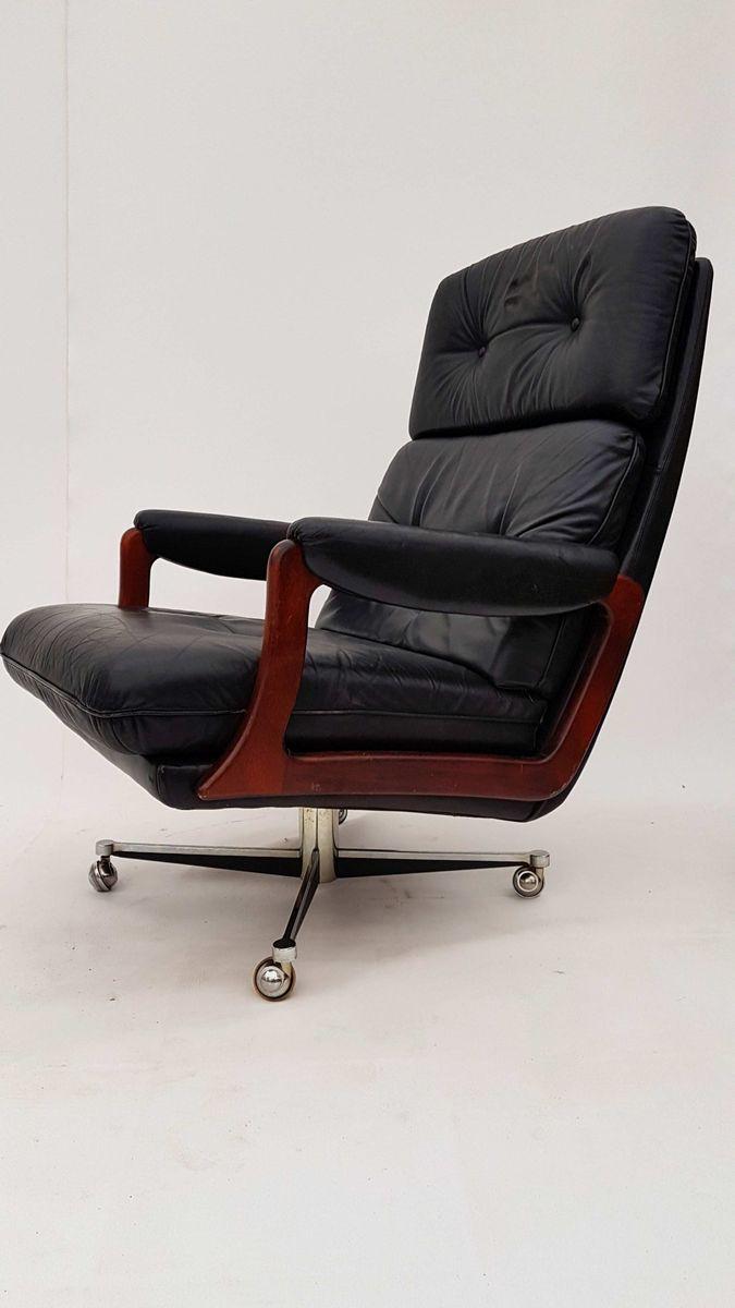 Leather Swivel Armchair With Ottoman By Preben Fabricius U0026 Jørgen Kastholm  For Kill International, 1960s