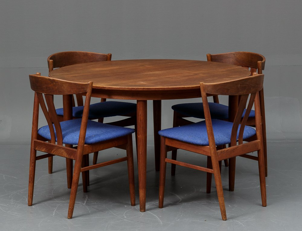 teak dining room table and chairs. Danish Teak Dining Table With 4 Chairs From Vejle Stole Og Mobelfabrik, 1960s Room And