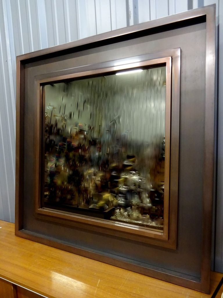 large metal mirror with smoked glass 1970s for sale at pamono. Black Bedroom Furniture Sets. Home Design Ideas