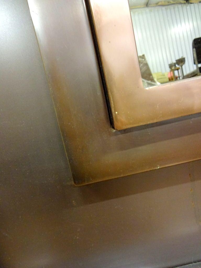Grand miroir en m tal avec verre fum 1970s en vente sur for Grand miroir metal