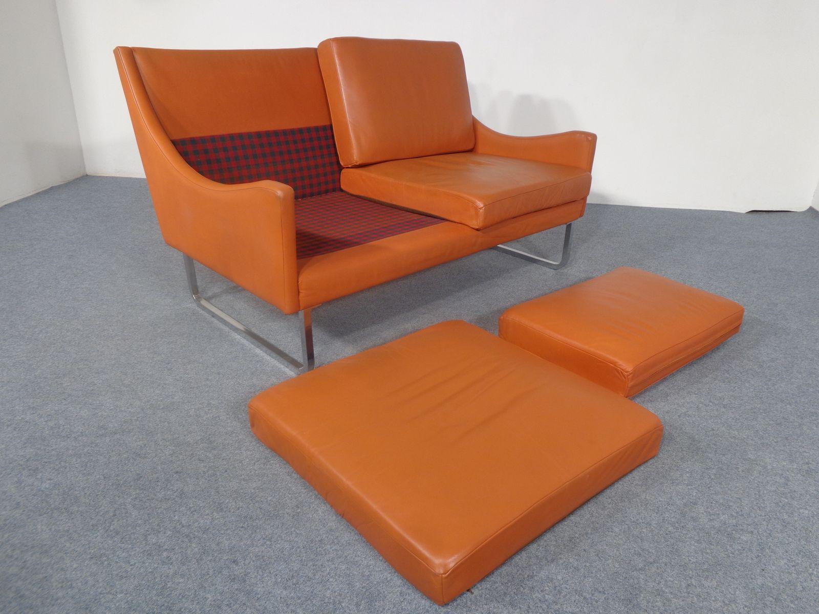 ledersofa auf kufen 1970er bei pamono kaufen. Black Bedroom Furniture Sets. Home Design Ideas