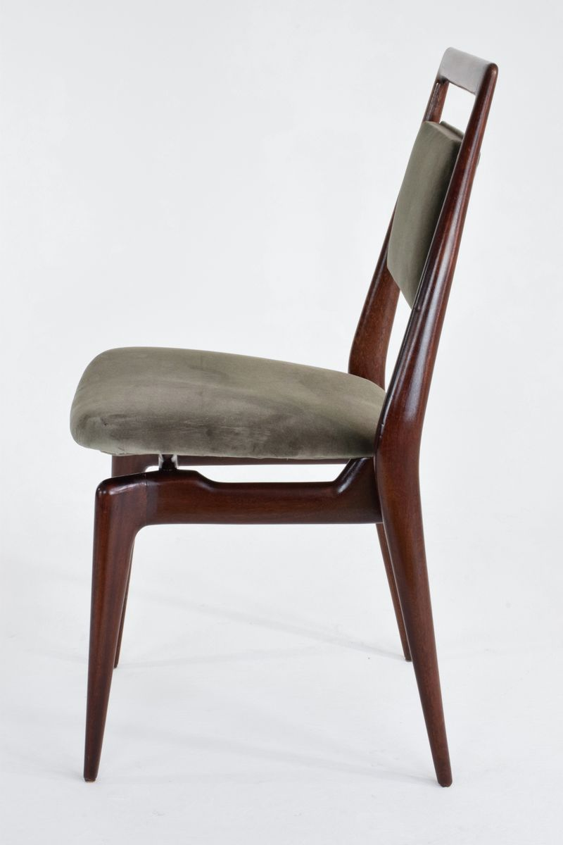 Italienische Mid-Century Samt Esszimmer Stühle, 6er Set bei Pamono kaufen