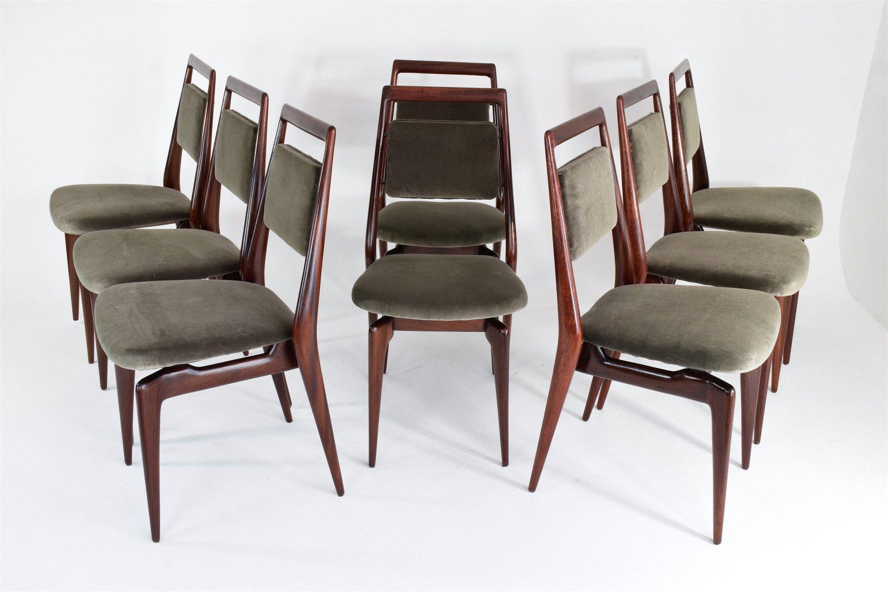 Velvet Dining Chairs Part - 38: Mid-Century Italian Velvet Dining Chairs, Set Of 6 For Sale At Pamono