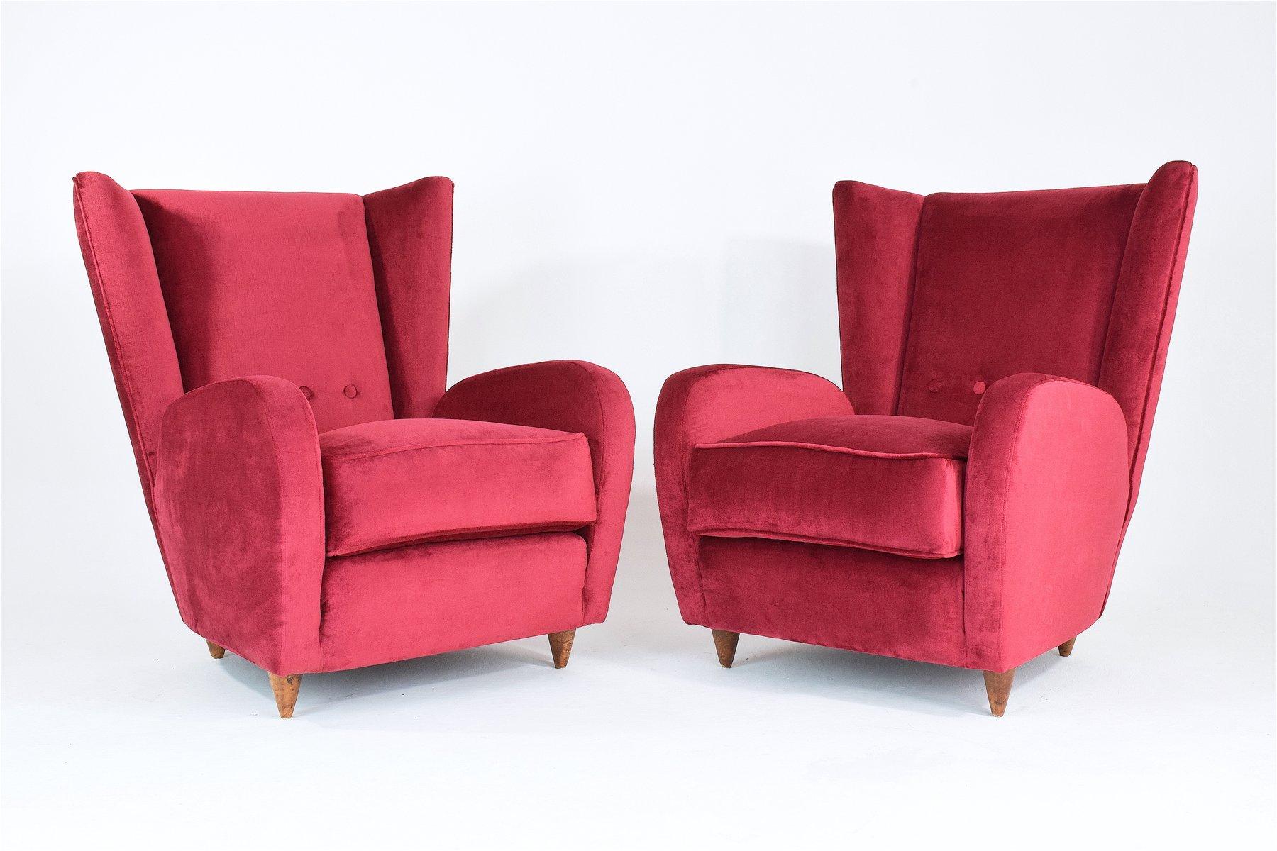 rote italienische sessel aus samt 1950er 2er set bei. Black Bedroom Furniture Sets. Home Design Ideas